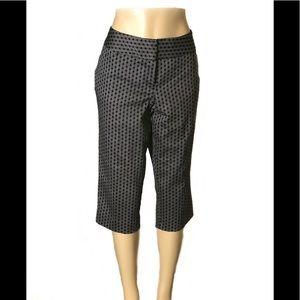 EUC Worthington Hexagon Pattern Black Crop Pants